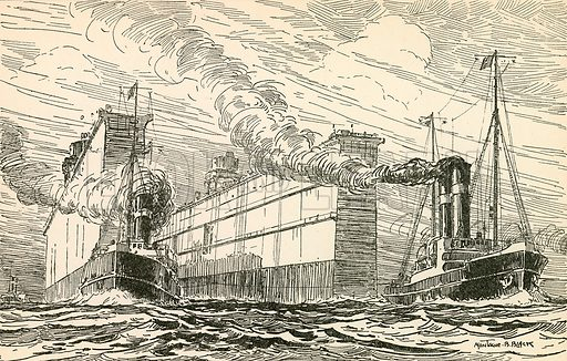The giant floating dock on her way to Singapore. Illustration from Young England Annual (Pilgrim Press, 1929).