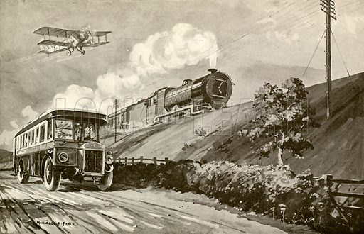 Rival transport. Illustration from Young England Annual (Pilgrim Press, 1929).