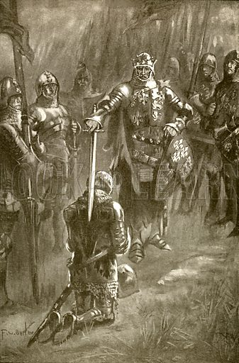 Knighted on the battlefield. Illustration from Young England Annual (Pilgrim Press, 1929).
