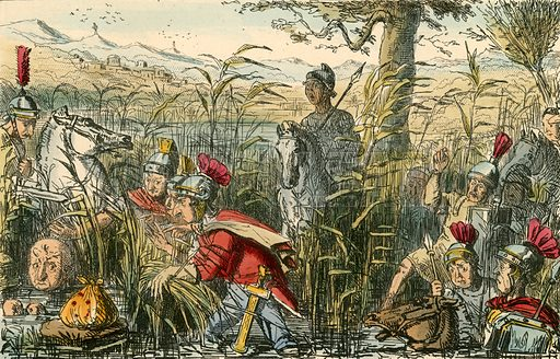 Marius discovered in the marshes at Minturnae. Illustration from The Comic History of Rome by Gilbert Abbott a Beckett (Bradbury, Evans, c 1850).