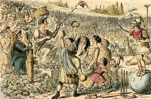 Flaminius restoring Liberty to Greece at the Isthmian Games. Illustration from The Comic History of Rome by Gilbert Abbott a Beckett (Bradbury, Evans, c 1850).