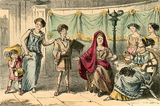 The mother of the Gracchi. Illustration from The Comic History of Rome by Gilbert Abbott a Beckett (Bradbury, Evans, c 1850).