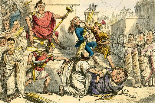 Tarquinius Superbus makes himself King. Illustration from The Comic History of Rome by Gilbert Abbott a Beckett (Bradbury, Evans, c 1850).