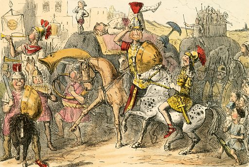 Pyrrhus arrives in Italy with his troupe. Illustration from The Comic History of Rome by Gilbert Abbott a Beckett (Bradbury, Evans, c 1850).