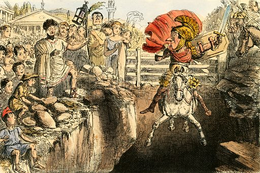 The gallant Curtius leaping into the gulfs. Illustration from The Comic History of Rome by Gilbert Abbott a Beckett (Bradbury, Evans, c 1850).