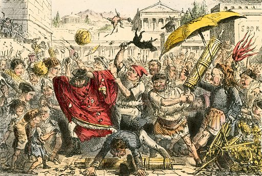 Appius Claudius punished by the people. Illustration from The Comic History of Rome by Gilbert Abbott a Beckett (Bradbury, Evans, c 1850).
