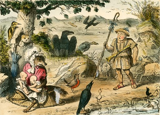 Romulus and Remus discovered by a gentle shepherd. Illustration from The Comic History of Rome by Gilbert Abbott a Beckett (Bradbury, Evans, c 1850).