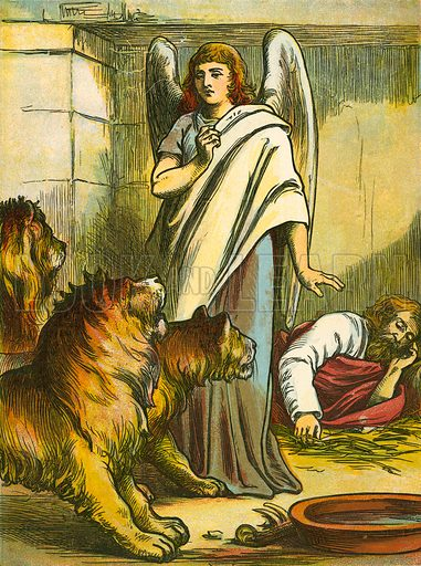 Daniel with the lions. Illustration from Th Sunday Story Book (Frederick Warne, 1886).