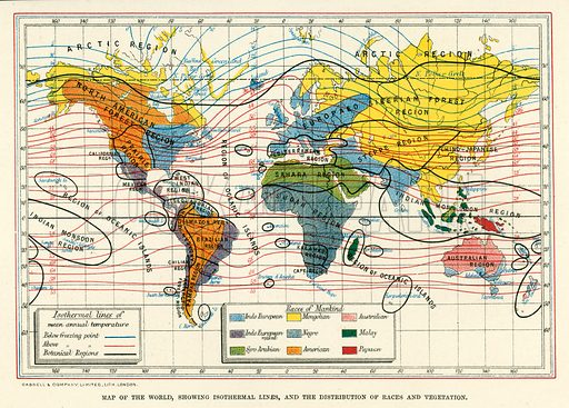 Races Of The World Map.Map Of The World Showing Isothermal Lines And The Distribution Of