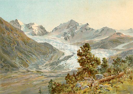 The Rosegg Glacier. Illustration fom The New Popular Educator (Cassell, c 1890).