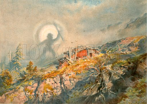 The spectre of the Brocken. Illustration fom The New Popular Educator (Cassell, c 1890).