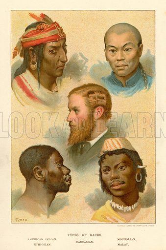 Types of Races. Illustration fom The New Popular Educator (Cassell, c 1890).