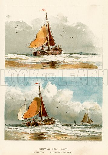 Study of Dutch boat. Illustration fom The New Popular Educator (Cassell, c 1890).