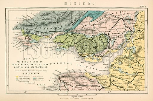 Map of the coal fields of South Wales, Forest of Dean, Bristol and Somersetshire. Illustration from The National Encyclopaedia (William Mackenzie, c 1870).