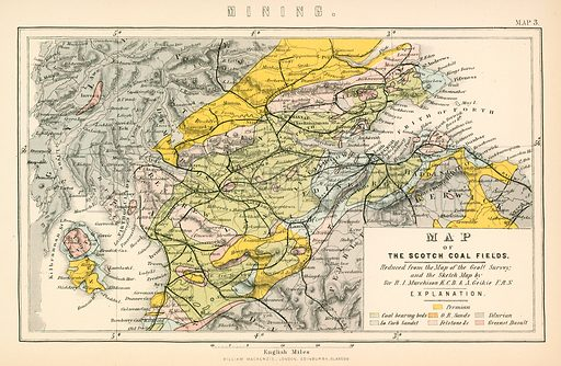 Map of the Scotch coal fields. Illustration from The National Encyclopaedia (William Mackenzie, c 1870).