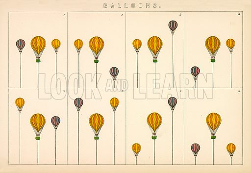 Balloons. Illustration from The National Encyclopaedia (William Mackenzie, c 1870).