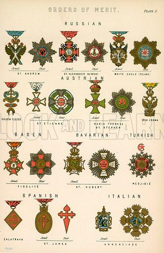 Orders of Merit. Illustration from The National Encyclopaedia (William Mackenzie, c 1870).