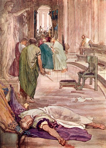 The murder of Caesar. Illustration for Stories of Rome in Days of Old (Jack, c 1910).