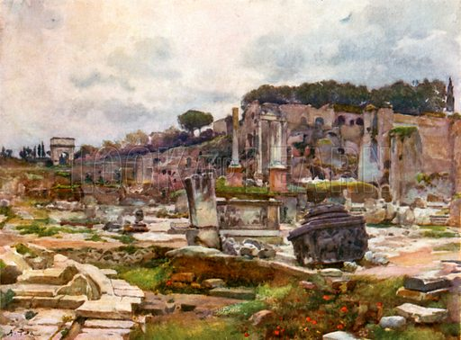 The Forum from the Arch of Septimius Severus. Illustration for Rome by M A R Tuker and Hope Malleson (A&C Black, c 1900).