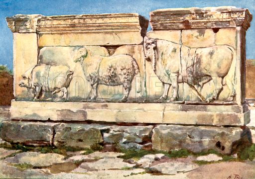 Marble relief of the Ambarvalia Sacrifice, in the Forum. Illustration for Rome by MAR Tuker and Hope Malleson (A&C Black, c 1900).