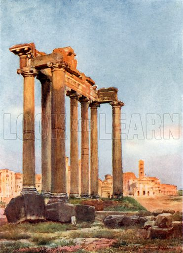 Temple of Saturn from the Portico of the Dii Consentes. Illustration for Rome by MAR Tuker and Hope Malleson (A&C Black, c 1900).