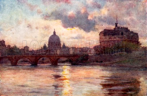 St Peter's and Castel Sant' Angelo from the Tiber. Illustration for Rome by M A R Tuker and Hope Malleson (A&C Black, c 1900).