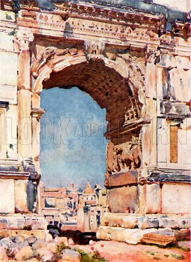 Arch of Titus. Illustration for Rome by MAR Tuker and Hope Malleson (A&C Black, c 1900).