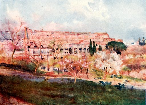 The Colosseum on a Spring Day. Illustration for Rome by M A R Tuker and Hope Malleson (A&C Black, c 1900).