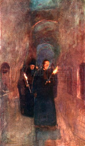 A Procession in the Catacomb of Callistus. Illustration for Rome by M A R Tuker and Hope Malleson (A&C Black, c 1900).