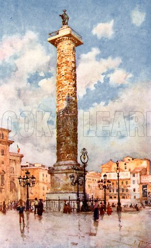 Column of Marcus Aurelius, Piazza Colonna. Illustration for Rome by M A R Tuker and Hope Malleson (A&C Black, c 1900).