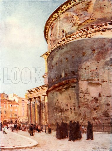 Pantheon, a flank view. Illustration for Rome by MAR Tuker and Hope Malleson (A&C Black, c 1900).