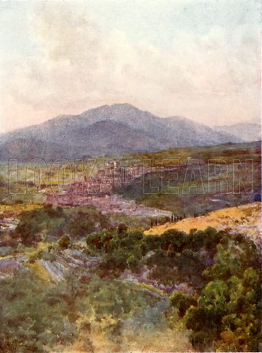 Subiaco from the Monastery of S Benedict. Illustration for Rome by MAR Tuker and Hope Malleson (A&C Black, c 1900).