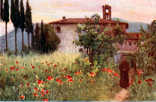 Convent Garden of San Cosimato, Vicovaro. Illustration for Rome by M A R Tuker and Hope Malleson (A&C Black, c 1900).