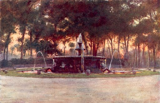 Sea Horse Fountain in the Villa Borghese. Illustration for Rome by MAR Tuker and Hope Malleson (A&C Black, c 1900).