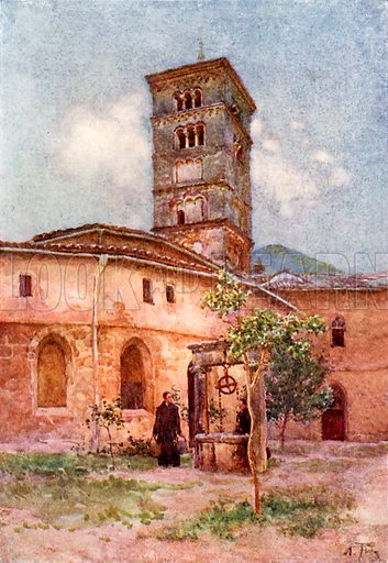Garden of the Monastery of Santa Scholastica, Subiaco. Illustration for Rome by MAR Tuker and Hope Malleson (A&C Black, c 1900).