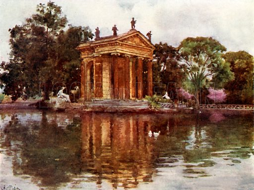 Ornamental water, Villa Borghese. Illustration for Rome by MAR Tuker and Hope Malleson (A&C Black, c 1900).