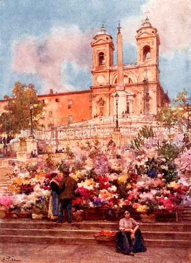 """The """"Spanish Steps,"""" Piazza di Spagna. Illustration for Rome by M A R Tuker and Hope Malleson (A&C Black, c 1900)."""