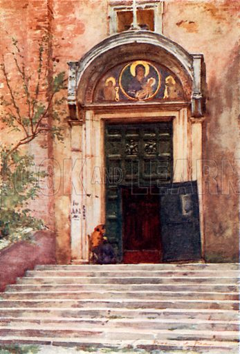 Entrance to Ara Coeli from the Forum. Illustration for Rome by MAR Tuker and Hope Malleson (A&C Black, c 1900).