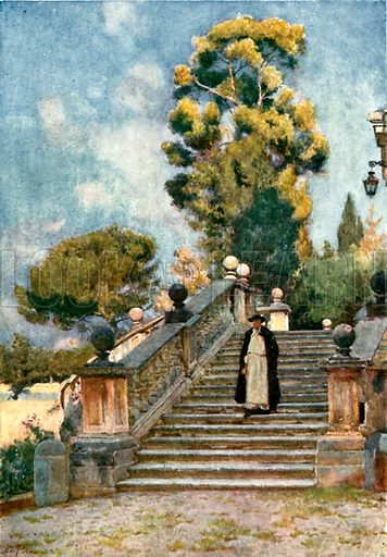 Steps of the Dominican Nun's Church of SS Domenico and Sisto. Illustration for Rome by MAR Tuker and Hope Malleson (A&C Black, c 1900).