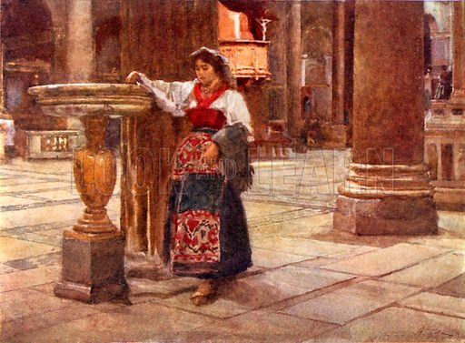 In the Church of Ara Coeli. Illustration for Rome by MAR Tuker and Hope Malleson (A&C Black, c 1900).