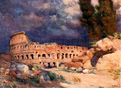 The Colosseum in a Storm. Illustration for Rome by MAR Tuker and Hope Malleson (A&C Black, c 1900).
