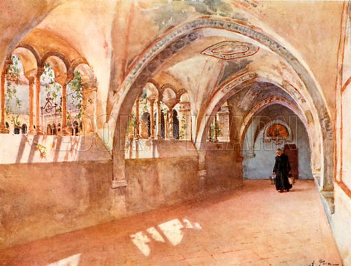Cloisters in Santa Scholastica, Subiaco. Illustration for Rome by MAR Tuker and Hope Malleson (A&C Black, c 1900).
