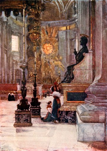 Interior of S Peter's, the bronze statue of S Peter. Illustration for Rome by M A R Tuker and Hope Malleson (A&C Black, c 1900).