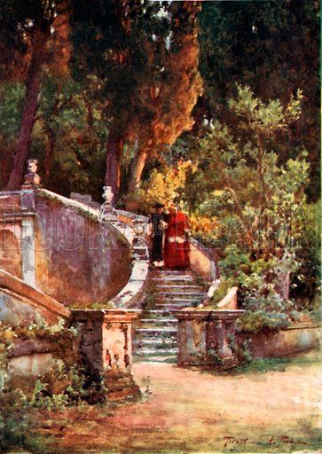 A Cardinal in Villa d'Este. Illustration for Rome by M A R Tuker and Hope Malleson (A&C Black, c 1900).