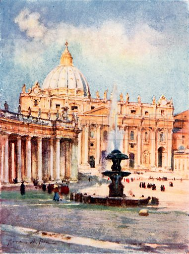 Saint Peter's. Illustration for Rome by M A R Tuker and Hope Malleson (A&C Black, c 1900).