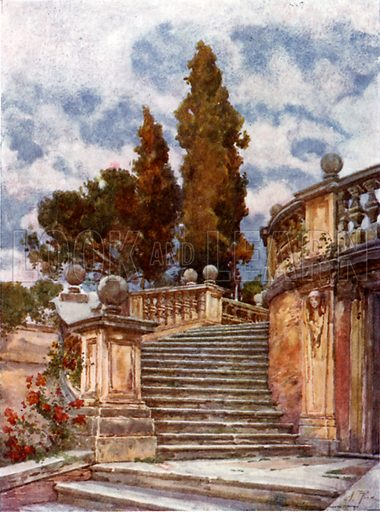 Steps of the Church of SS Domenico and Sisto. Illustration for Rome by M A R Tuker and Hope Malleson (A&C Black, c 1900).