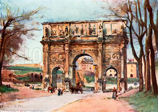 Arch of Constantine. Illustration for Rome by M A R Tuker and Hope Malleson (A&C Black, c 1900).