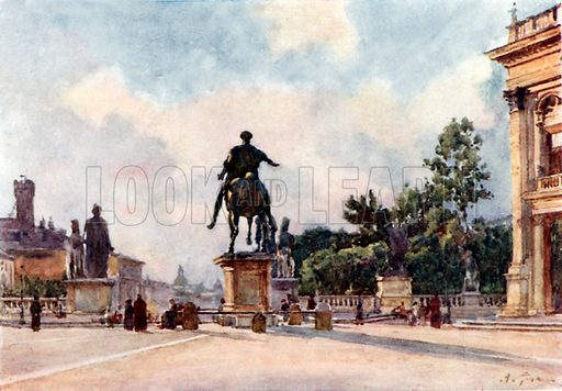 Bronze statue of Marcus Aurelius on the Capitol. Illustration for Rome by M A R Tuker and Hope Malleson (A&C Black, c 1900).