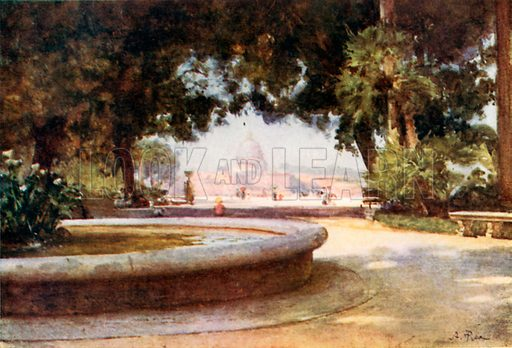 S Peter's from the Pincian Gardens. Illustration for Rome by M A R Tuker and Hope Malleson (A&C Black, c 1900).