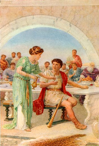 """""""As he looked he shrank and shuddered."""" Illustration for The Heroes or Greek Fairy Tales (Raphael Tuck, c 1900)."""